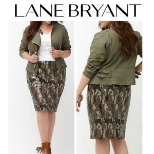 Lane Bryant Sequin Camouflage Pencil Skirt